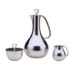 Georg Jensen Three Piece Coffee Set By Sigvard Bernadotte