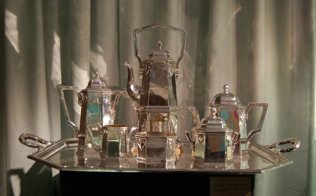 Very Rare Cartier Paris Sterling Silver Tea & Coffee Set On Tray image 2