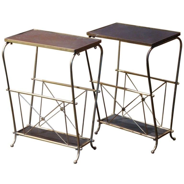 Stylish Pair Of French 1950s/60s Side Tables/ Magazine Racks 1