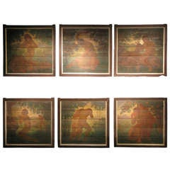 "Unusual Set of Six, 19th Century Oils on Panels ""Garden of Eden"""