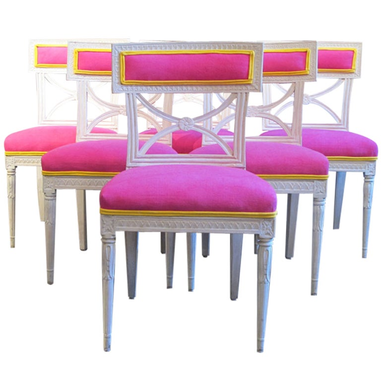 Dining Room Set With Bench Seating Painted Tongue And: Fine Set Of Six Painted Gustavian Swedish Dining Chairs At