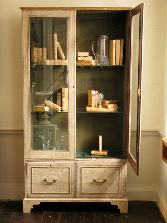 rare 19th cent original paint gun cabinet display. Black Bedroom Furniture Sets. Home Design Ideas