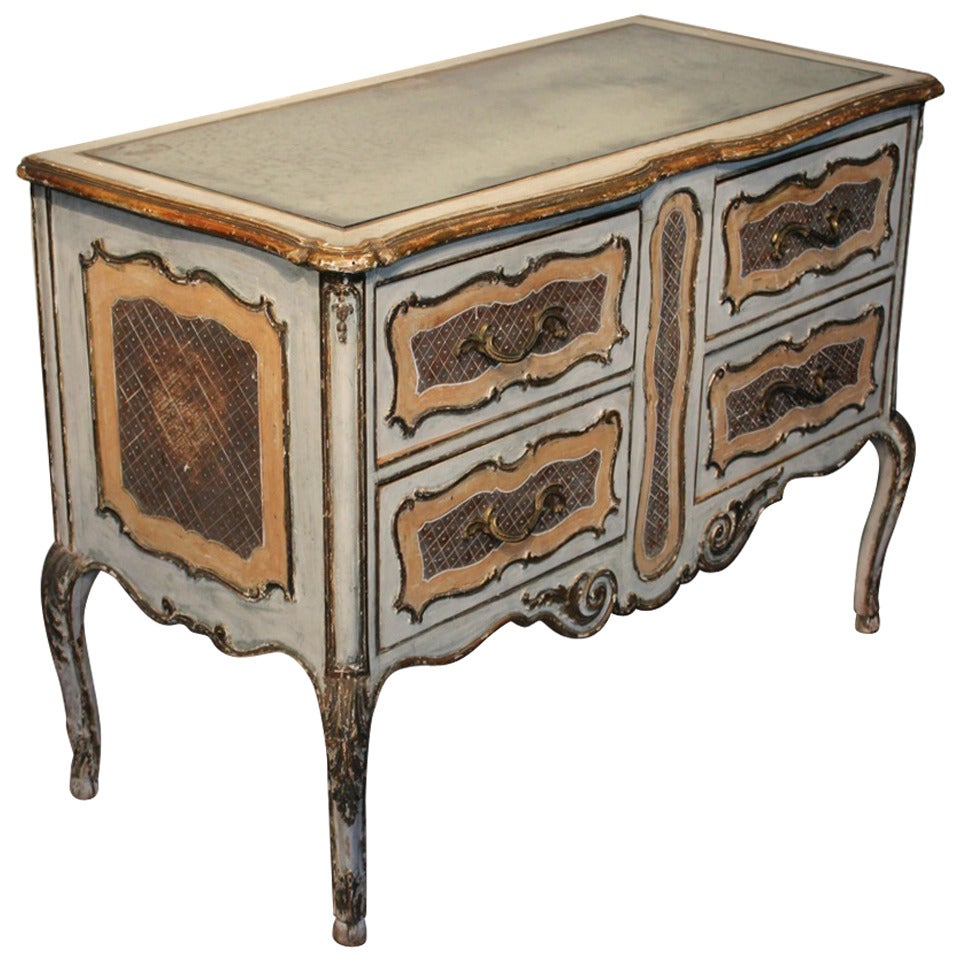 1950s italian painted commode with its original mirrored top for sale at 1stdibs. Black Bedroom Furniture Sets. Home Design Ideas