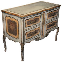 1950s Italian Painted Commode with its Original Mirrored Top
