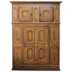 18th Century Swiss Painted Cupboard with 19th Century Paint