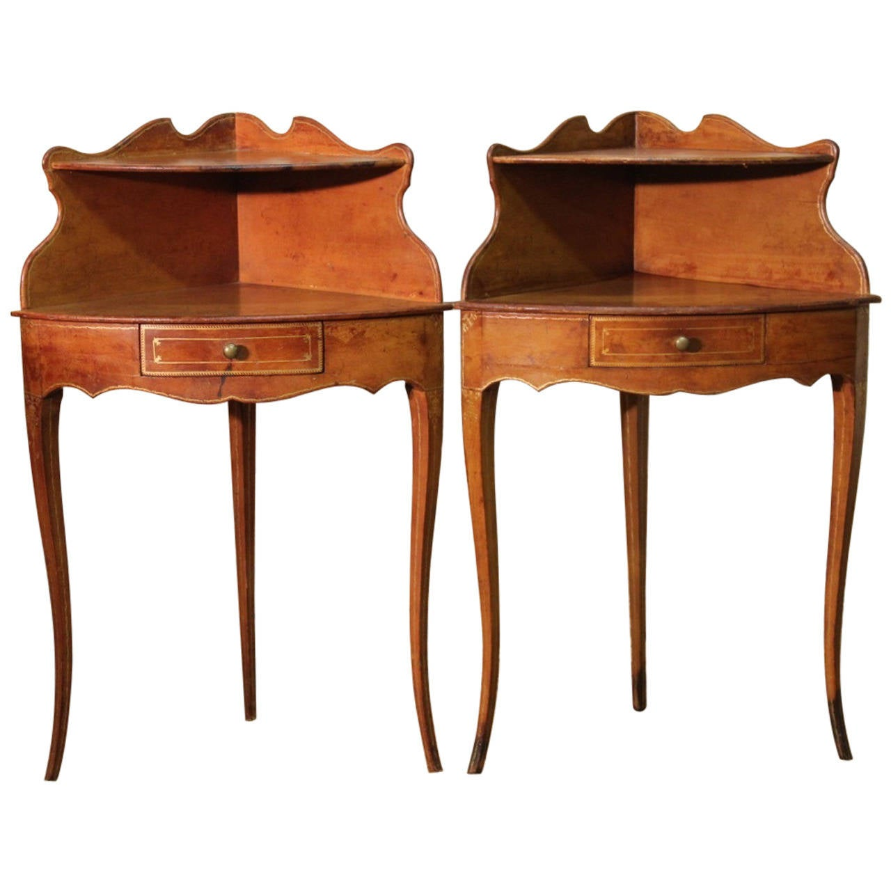 Pair of 1920s french corner bedside tables in leather for for Corner bed table