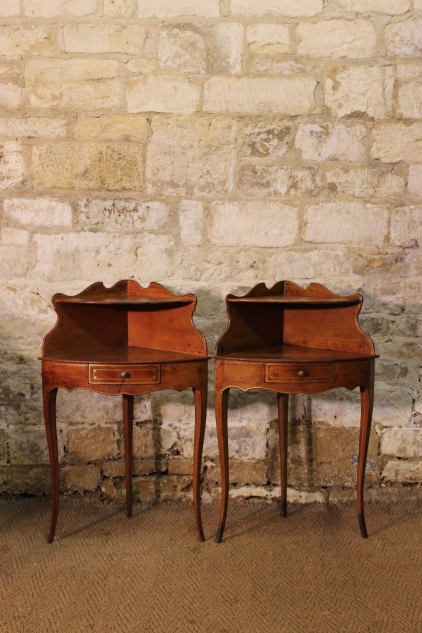 Corner Bedside Table pair of 1920s french corner bedside tables in leather for sale at
