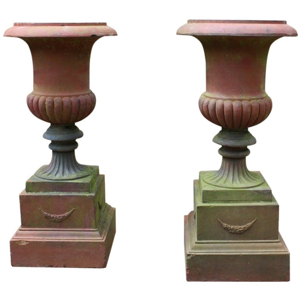 Large Pair of 19th Century Terracotta Urns on Plinths