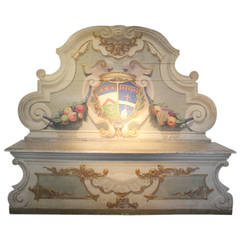 19th Century Painted Italian Hall Bench