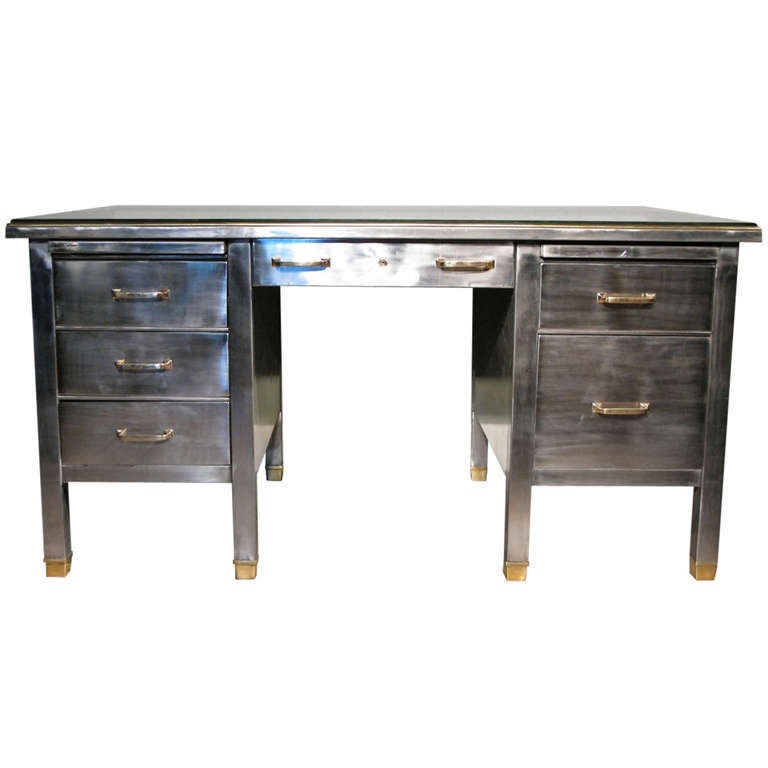 Wonderful Circa 1920s 30s French Metal Desk With Brass