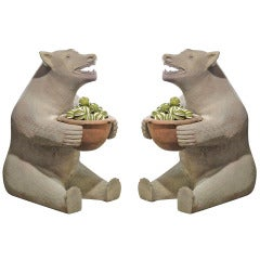 Great Pair of 1920s Terracotta Bear Planters