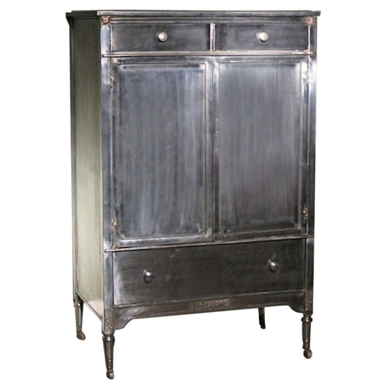 Wonderful 1920s American Metal Cabinet By Simmons And Company At 1stdibs