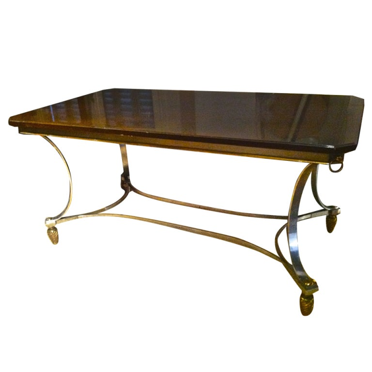 maison jansen dining table with laquered top and metal
