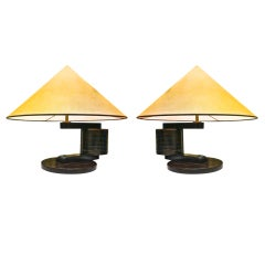 Andre Sornay Very Rare Pair Of Nailed Lamp Signed And Documented