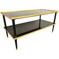 Maison Jansen Super Long Two-Tier Coffee Table in Black Lacquered Wood