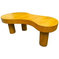 Jean Royère Documented Rare Blond Tri-Legged Oak Model Flaque Coffee Table