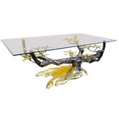 Willy Daro Pair of Organic Tree Like Gold Bronze Coffee Tables