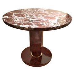 Jules Leleu Stamped Coffee Table with Amazing Marble Top and Gold Bronze Hardwar