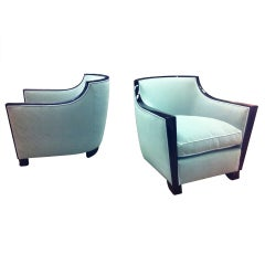 Dominique Documented Rare Pair of Black Lacquer Lounge Chairs, Newly Restored