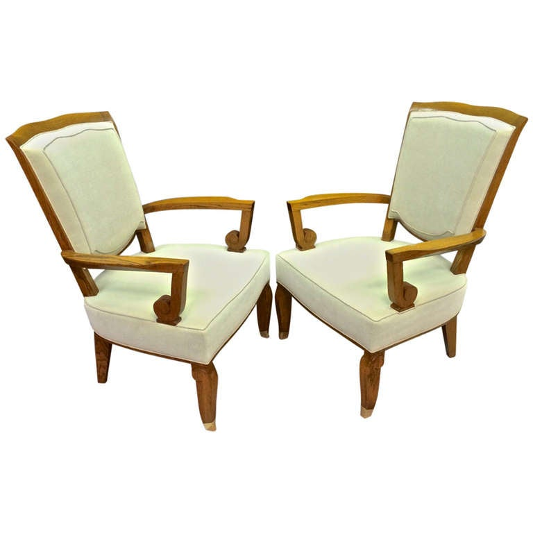 Jules leleu stamped 1940s majestic pair of large and for Comfortable chairs for sale