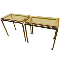 Maison Ramsay Pair of Side Tables in Gilded Wrought Iron with Mirrored Top