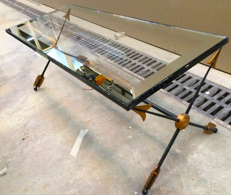 Long Neo Classic Arrow Wrought Iron Coffee Table With