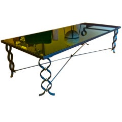 Jean Royère Documented Long Coffee Table in Wrought Iron, Model Ruban