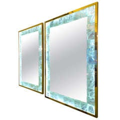 André Hayat Pair of Lighted Etched Rock Crystal Mirrors with Gold Bronze
