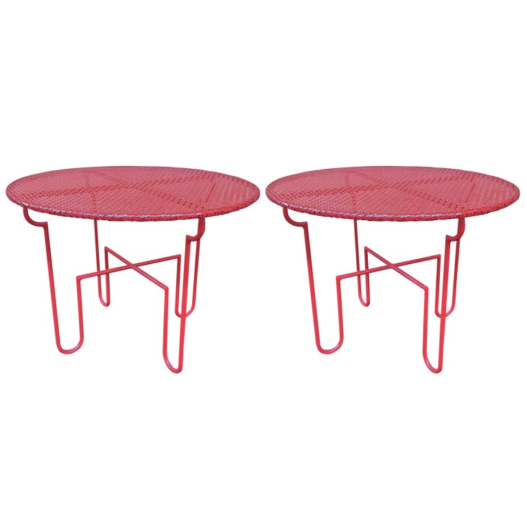 Mathieu Mategot Attributed Pair Of Red Painted Metal Coffee Tables At 1stdibs