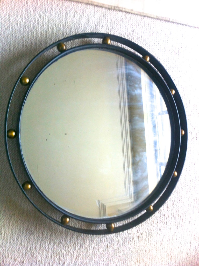 Jean roy re wrought iron and brass mirror in vintage for Wrought iron mirror
