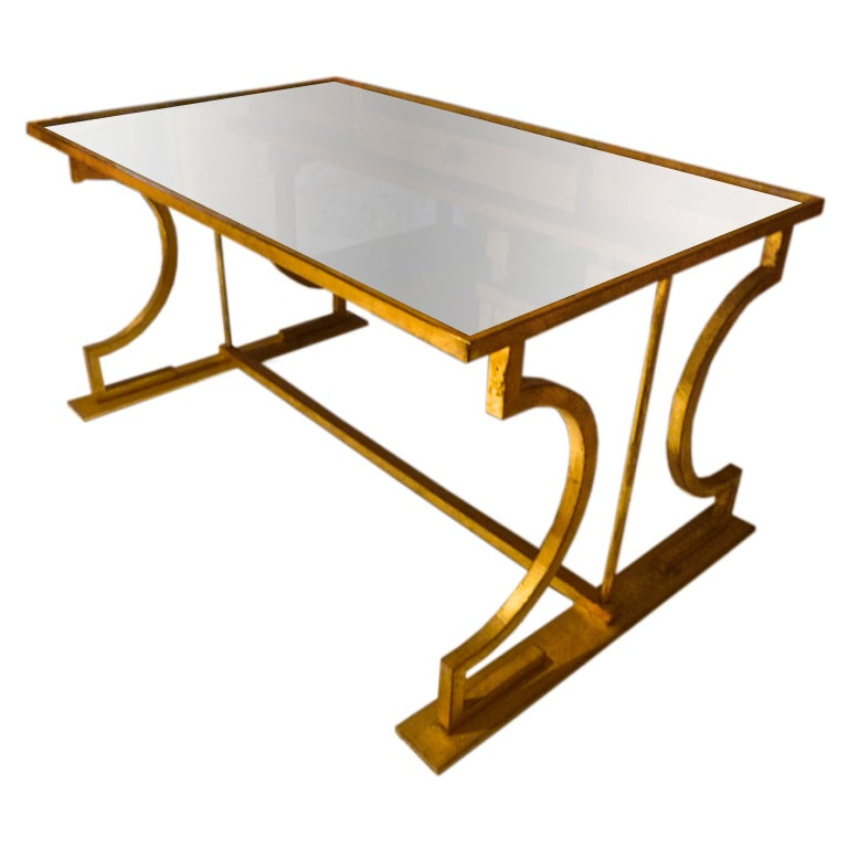 Marc Duplantier Neo Classic Gold Leaf Wrought Iron Coffee Table At 1stdibs
