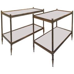 Maison Jansen 1940s Refined Pair of Two-Tier Side Tables with Mirrored Top