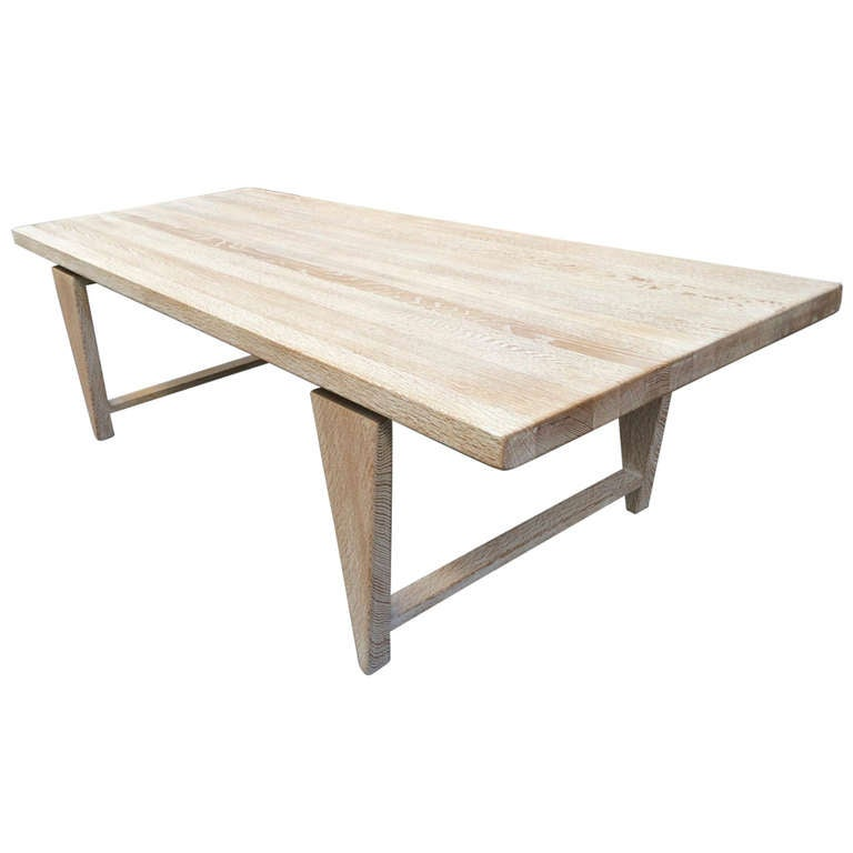 Illum Wikkels Sand Blasted Washed Cerused Solid Oak Long Coffee Table At 1stdibs