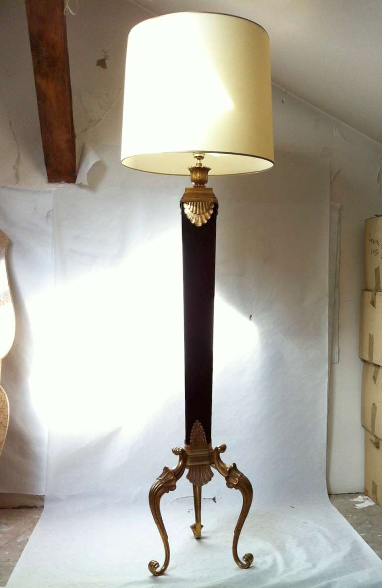 jansen 1940s floor lamp with black opaline and gold bronze details. Black Bedroom Furniture Sets. Home Design Ideas