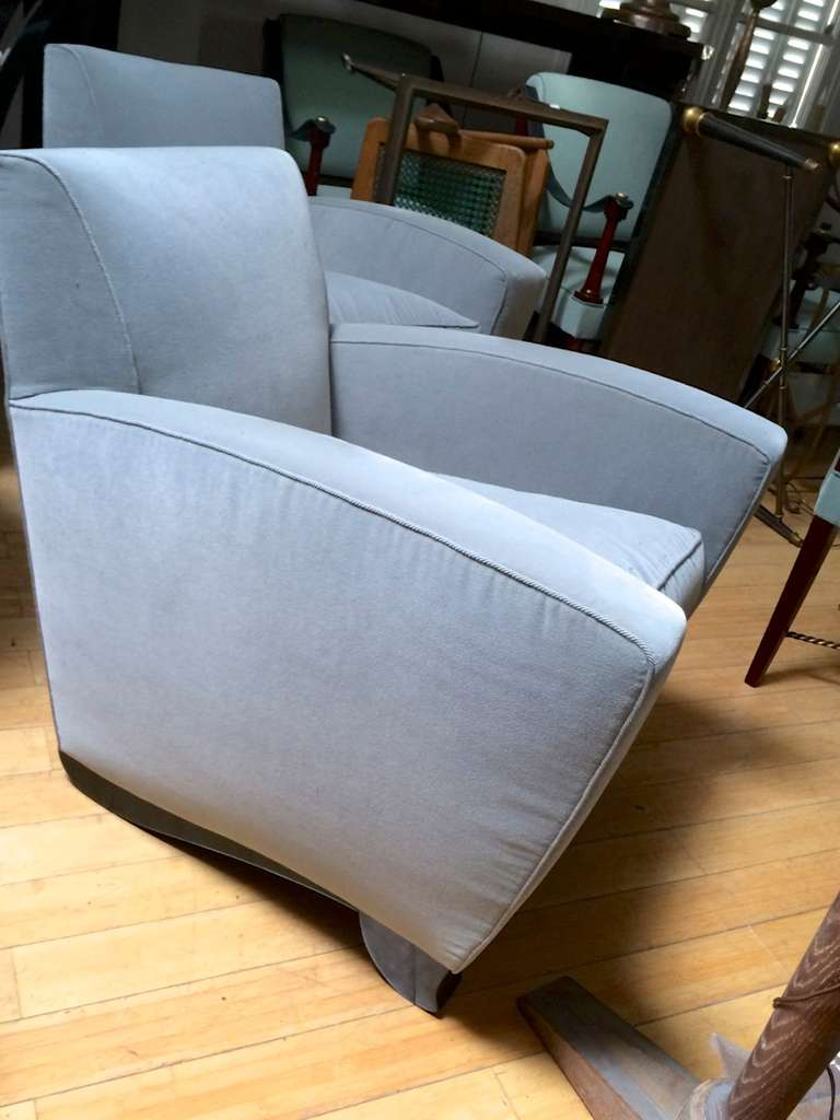 Maison dominique chicest rare pair of armchairs newly for Reupholstered furniture for sale