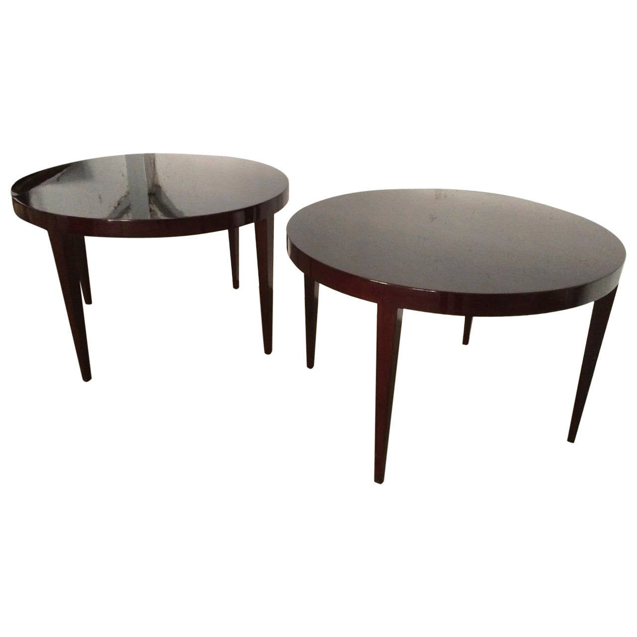 Round Coffee Table Pair: Severin Hansen Rare Large Pair Of Round Rosewood Coffee Or