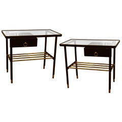 Jacques Adnet Pair of Night Stands in Hand-Stitched Black Leather