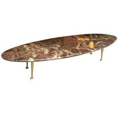 Italian Superb Long Oval Surfboard Look Slender Coffee Table