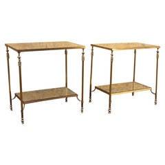 Maison Jansen Bronze Hardware, Pair of Two-Tier Tables