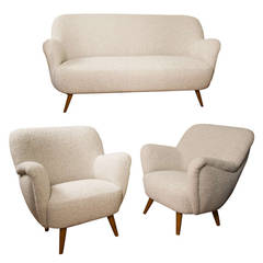 Style of Gio Ponti Set of One Couch and Two Chairs, Newly Covered