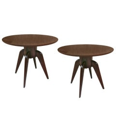 Rene Prou Pair Of Round 4 Legged Coffee Tables With Marquetry Top