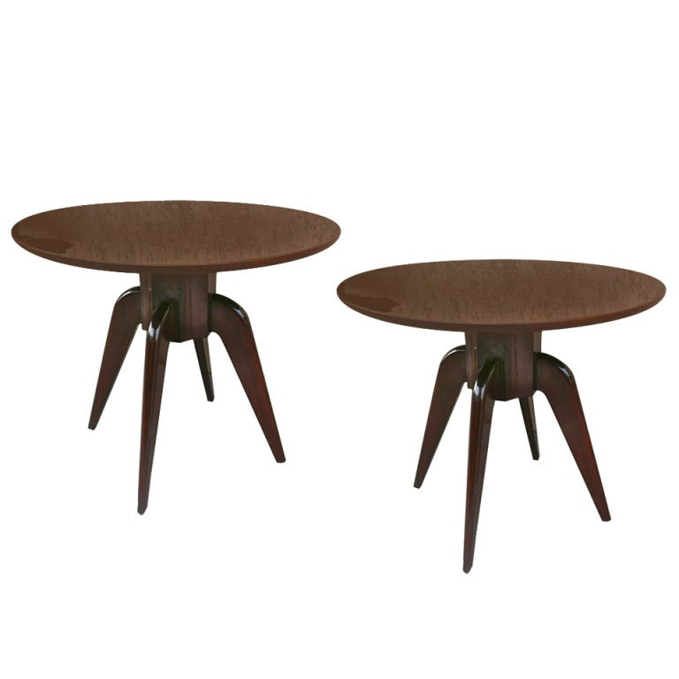 Round Coffee Table Pair: Rene Prou Pair Of Round 4 Legged Coffee Tables With