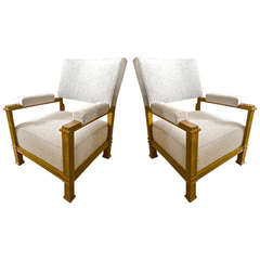 Pair of Andre Arbus Neoclassic Oak Chairs, Newly Covered in Maharam Bouclé