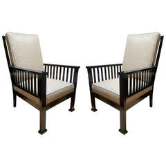 Austrian Early Century Modernist Design Pair of Armchairs