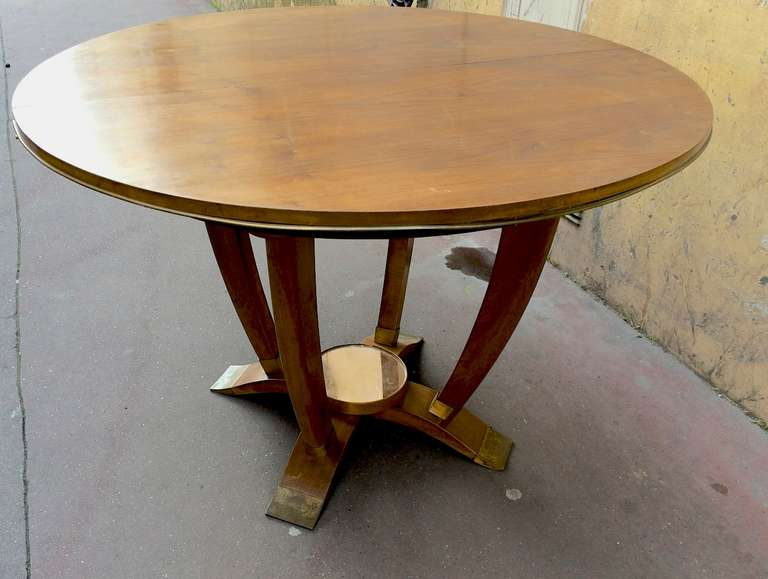 Round Dining Table With Bronze Sabot And Mirror Center At 1stdibs