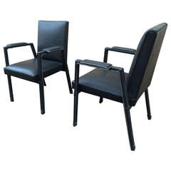 Jacques Adnet Black Hand Stitched Leather Pair of Armchairs