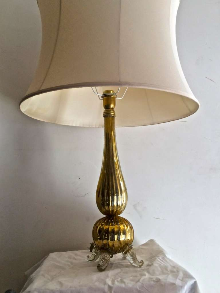 Mercury Gold Yellow Pair Of Murano Glass Tables Lamps With Tripod Leg Bases At 1stdibs