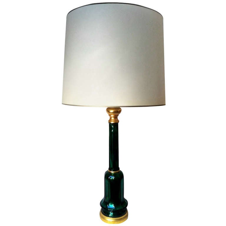 Superb Mercury Green 1950s Murano Table Lamp With A Bronze