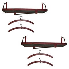 Jacques Adnet Rare Pair of 'Hermes Red' Stitched Leather Shelves and Two Hangers