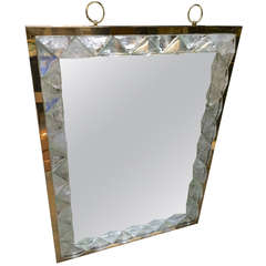 André Hayat Triangle Pyramid Rock Crystal Mirror with Gold Bronze Frame